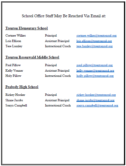 School Staff Admin Contact Information