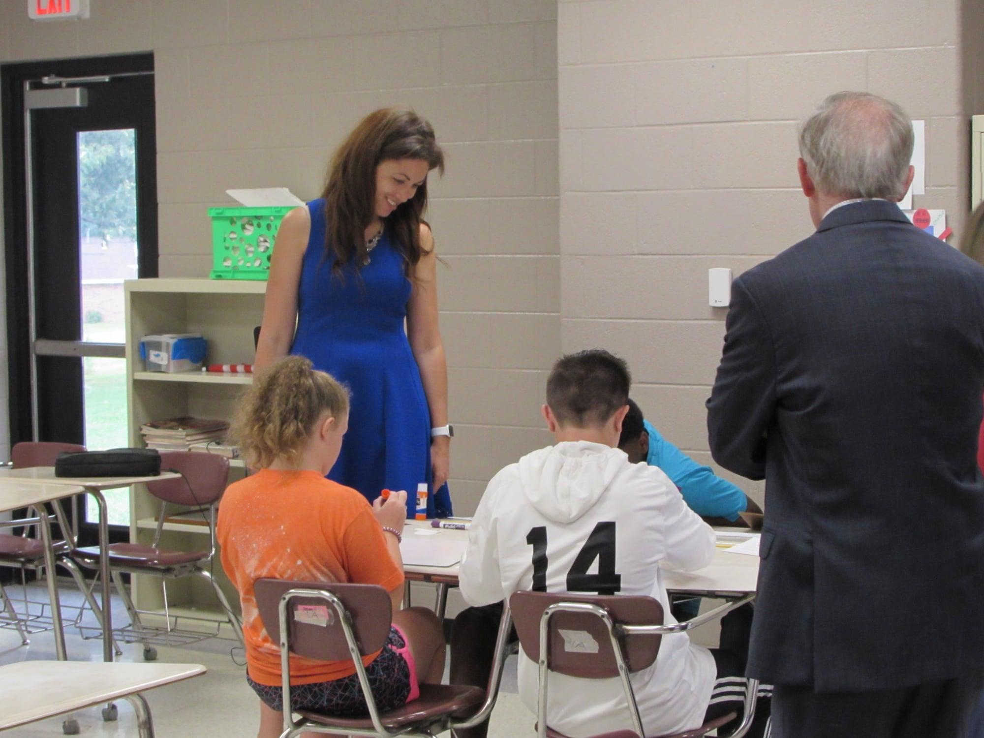 Commissioner and Former Speaker observing students!