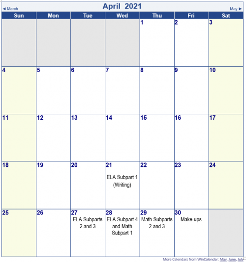 TNReady Calendar 2021