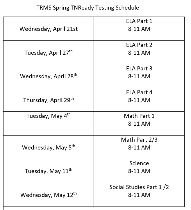 TNReady Schedule