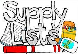 books and crayons with text Supply List
