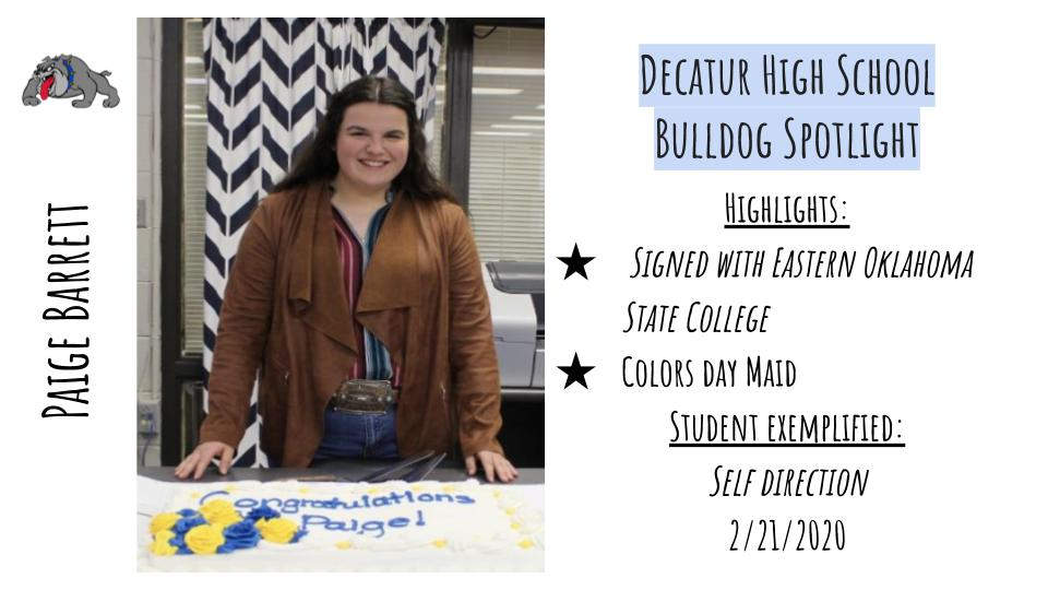 High School Bulldog Spotlight: Paige Barrett