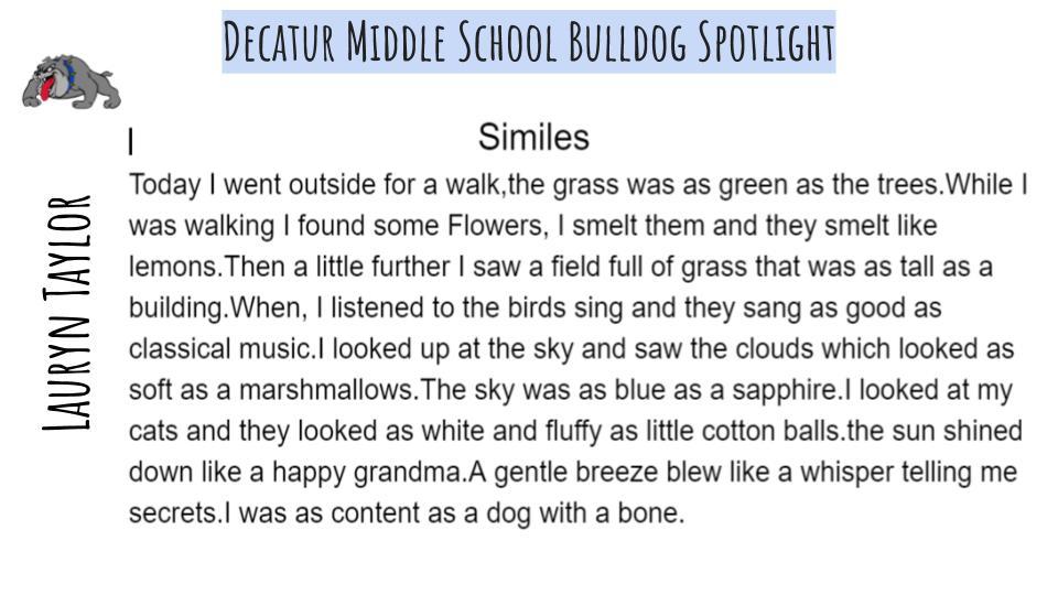 Middle School Bulldog Spotlight: Lauryn Taylor (writing piece)