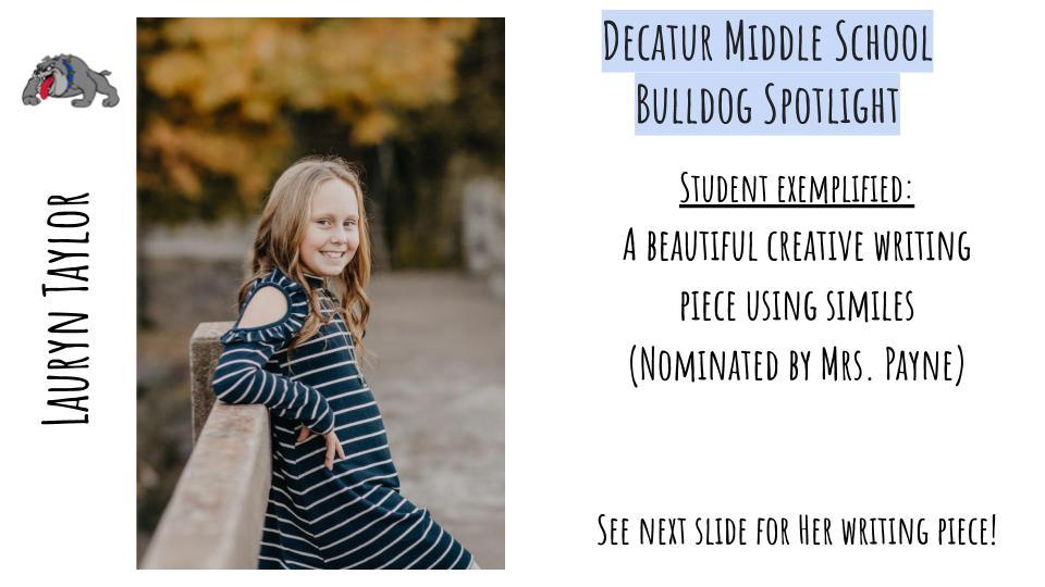 Middle School Bulldog Spotlight: Lauryn Taylor