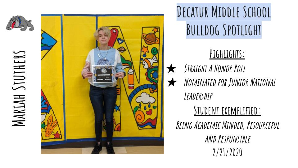 Middle School Bulldog Spotlight: Mariah Stuthers