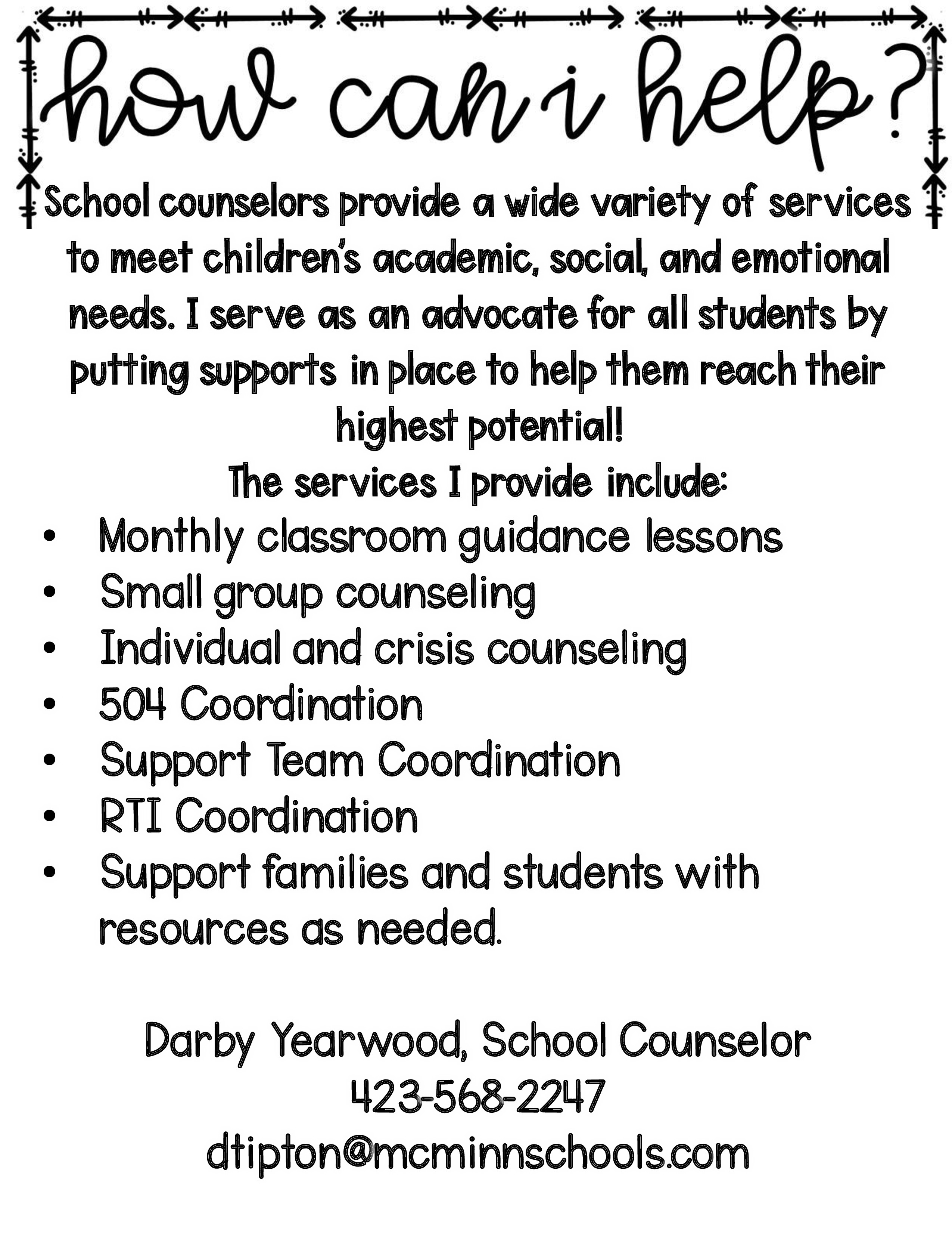 School Counselor Services Sheet