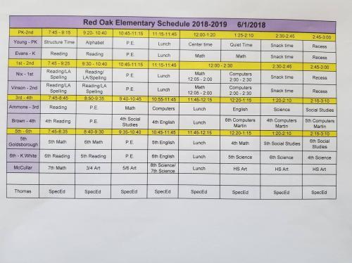 2018-2019 Elementary Schedule