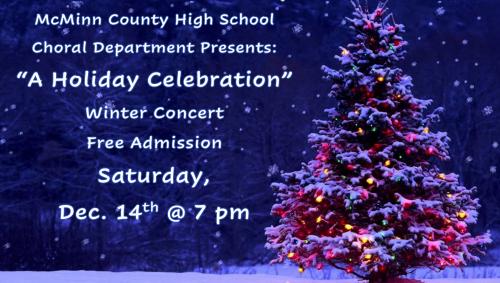 Christmas Concert Sat. Dec 14th@ 7 pm - Free Admission