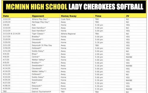 Lady Cherokees Softball Schedule