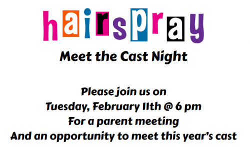Meet the Cast of Hairspray February 11th at 6 pm