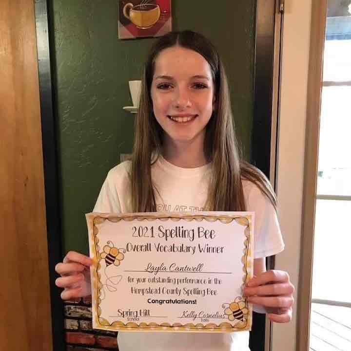 Cantwell Overall Vocabulary Winner - Hempstead County Spelling Bee.