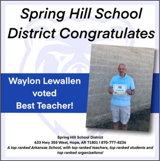 Picture of Mr. Lewallen, Best Teacher 2019