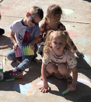 Sidewalk chalk artists.
