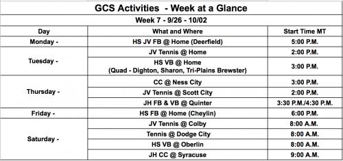 Week of Sept 27 schedule