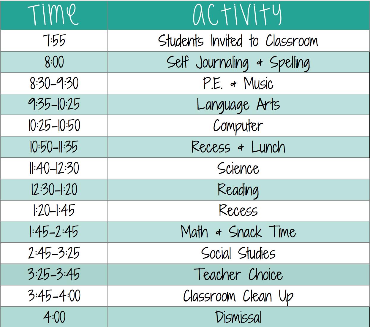 Class Schedule 2019-20