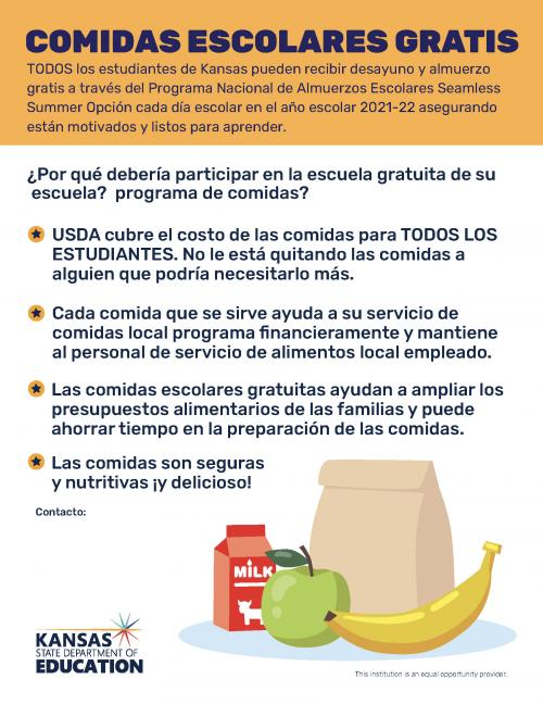 Free School Meal Flyer Spanish