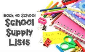 SCHOOL SUPPLY LISTS - 20/21