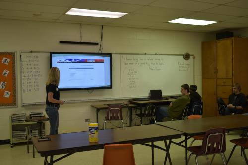 Image of Becky Garrett speaking to Money Matters classes