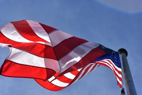 low-angle photograph of American flag