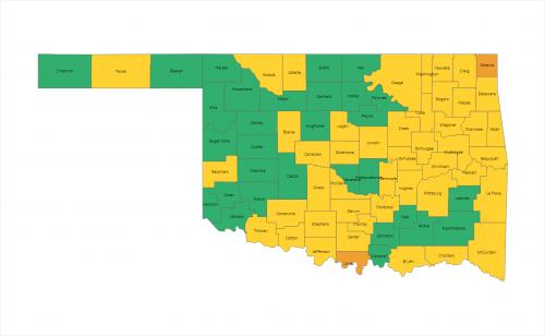 Oklahoma COVID Risk Map Image