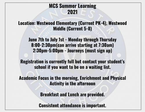 Information about summer learning for Manchester City Schools