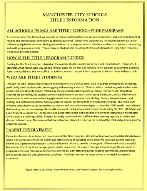 Description of Title 1 for Manchester City Schools