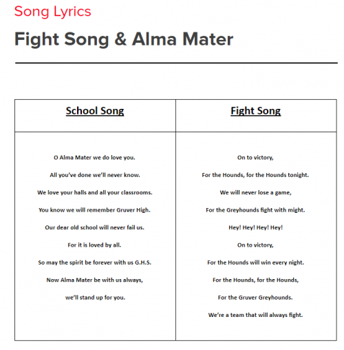 school song lyrics