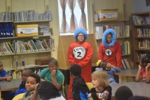 Thing 1 & 2 visiting Elementary Second Graders on DR Seuss Birthday