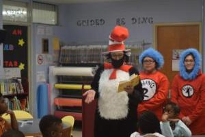 Cat in the Hat with  Thing 1 and Thing 2 on Dr Seuss Birthday