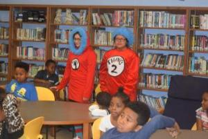 Thing 1 & 2 visiting Elementary on DR Seuss Birthday