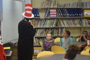 First Graders enjoying Green Eggs and Ham by Dr Seuss