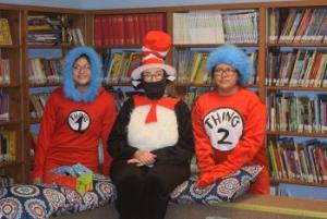 Mrs Hadden as Cat in the Cat with Thing 1 and Thing 2