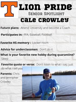 Cale Crowley Senior Spotlight Information