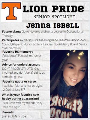 Jenna Isbell Senior Spotlight Information