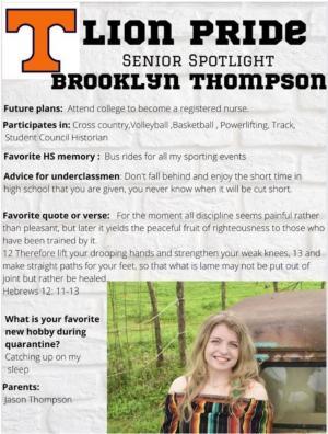 Brooklyn Thompson Senior Spotlight Information