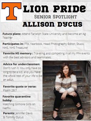 Allison Dycus Senior Spotlight Information
