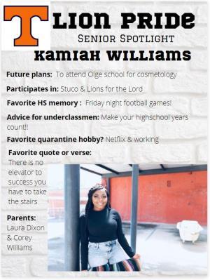 Kamiah Williams Senior Spotlight Information