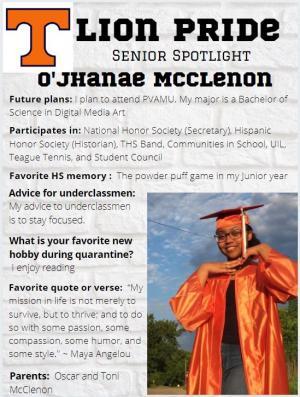 O'Jhanae McClenon Senior Spotlight Information