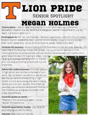 Megan Holmes Senior Spotlight Information