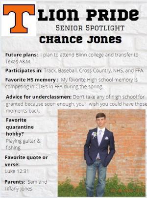 Chance Jones Senior Spotlight Information