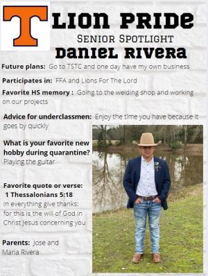 Daniel Rivera Senior Spotlight Information