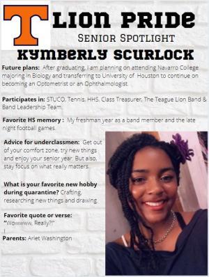 Kymberly Scurlock Senior Spotlight Information