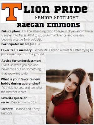 Raegan Emmons Senior Spotlight Information