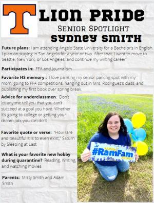 Sydney Smith Senior Spotlight Information