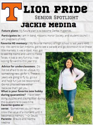 Jackie Medina Senior Spotlight Information