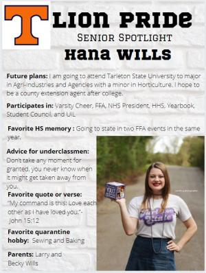 Hana Wills Senior Spotlight Information