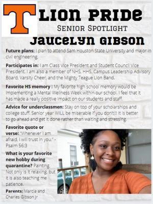 Jaucelyn Gibson Senior Spotlight Information