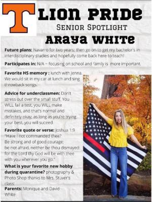Araya White Senior Spotlight Information