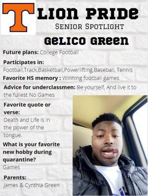 Gelico Green Senior Spotlight Information