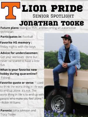 Jonathan Tooke Senior Spotlight Information